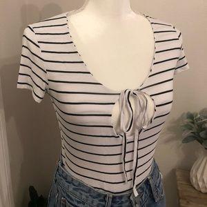 Nastygal striped blue white tie front bodysuit